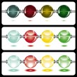 Glowing beads on white on three rows — Stock Vector