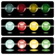 Stock Vector: Glowing beads in dark on three rows