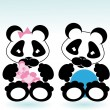 Panda boy and girl - Stock Vector