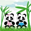 Panda cuddles with bamboo - Stock Vector