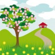 Pink blossom tree hill and house - Stock Vector