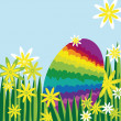 Rainbow easter egg hidden in meadow - Stock Vector