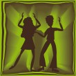 Royalty-Free Stock Vector Image: Retro dancing in green