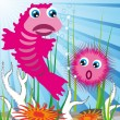 Royalty-Free Stock Vector Image: Sea creatures with sea bottom