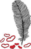 Feather and heart illustration — Vector de stock
