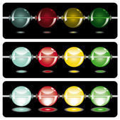 Glowing beads in the dark on three rows — Stock Vector