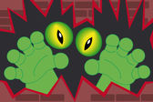 Green monster hands out of a wall — Stock Vector