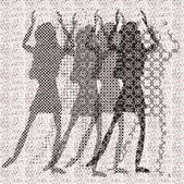 Halftone raster dancing girls — Stock Vector