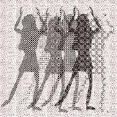 Halftone raster dancing girls — Stock Vector