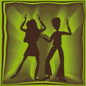 Retro yeşil renkle dansı — Stok Vektör