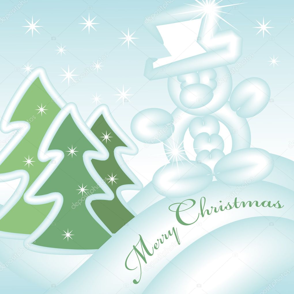 Merry christmas greeting card with sliding snowman down the hill — Stock Vector #2393641