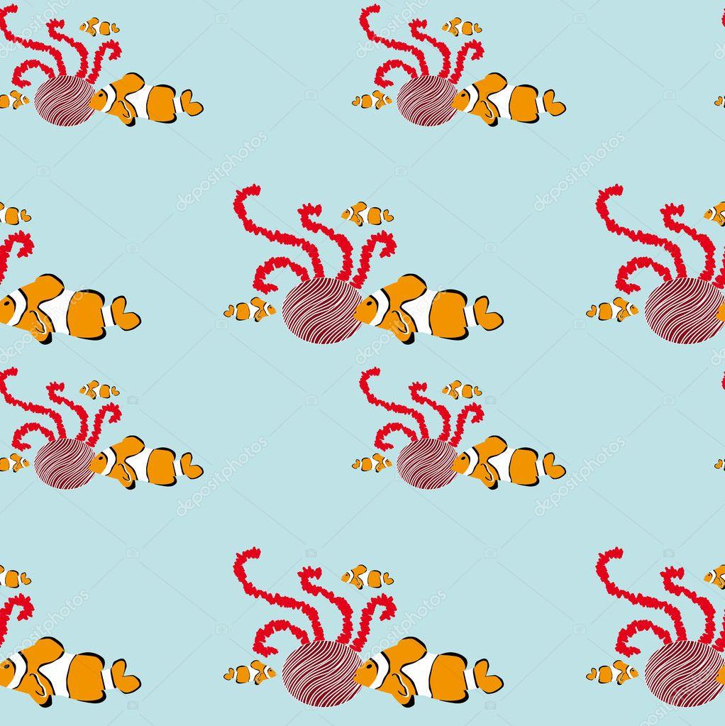 无缝的小丑鱼图案 — 图库矢量图片 #2393895