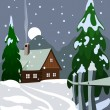 Illustration of house in snow forest - Stock Photo