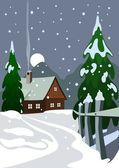 Illustration of house in snow forest — Stock Photo
