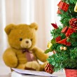 Memory concept chrismas tree and bear — Stock Photo