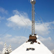 Radio antenna communication tower - Stock Photo