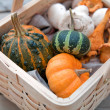 Basket of autumn goodies — Stock Photo