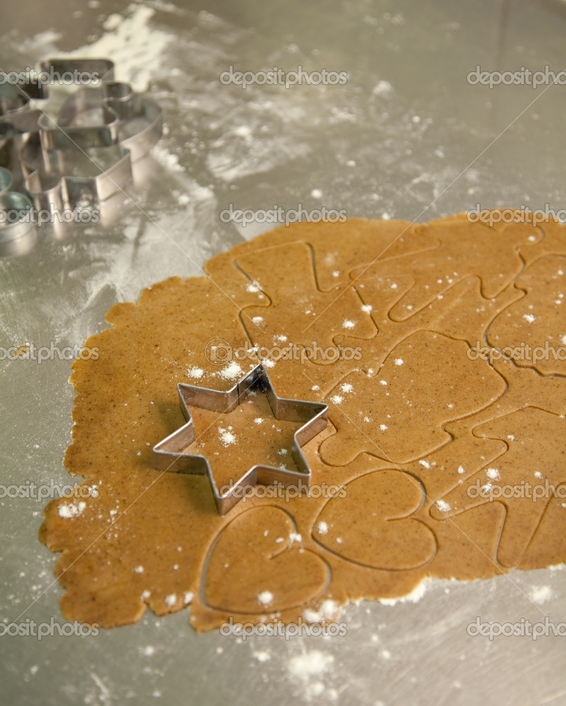 Rolled out dough for christmas gingerbread — Stock Photo #2342712