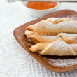 Crescent roll with jam — Stock Photo