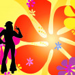 Dancing silhouette hippie girls - Stock Photo