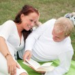 Cute couple on picnic — Stock Photo