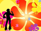 Dancing silhouette hippie girls — Stock Photo