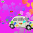 Stock Photo: Flower Power hippie car fantasy