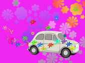 Flower Power hippie car fantasy — Stock Photo