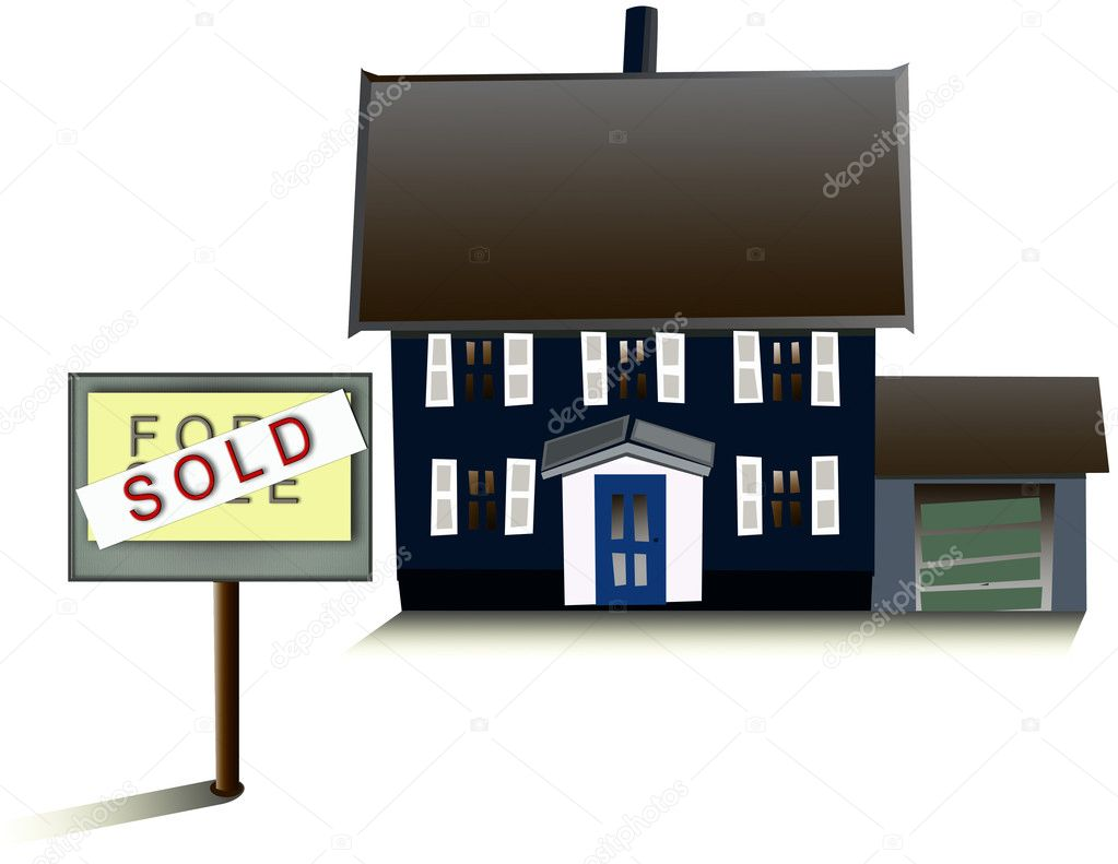 An illustration of a blue house with a for sale sign that has been crossed over  Stock Photo #2577501