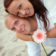 Portarit of romantic couple by beach — Stock Photo #2619719