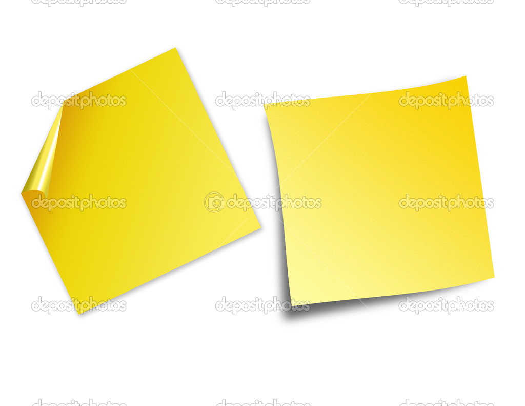 An illustration of post it notes isolated on white with room for text — Stock Photo #2619730