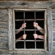 Hands behind prison bars — Foto Stock