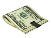 Pocket money tightened on white — Stock Photo