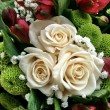 Beautiful bouquet of white roses — Stock Photo
