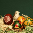 Bird in easter eggs nest — Stock Photo