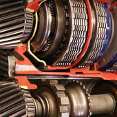 Gears in gearbox inside close-up — Stock Photo
