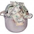 Pot of money — Stock Photo
