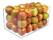 Apples in a glass boxu — Stock Photo