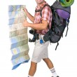 Smiling hiker with map - Stock Photo