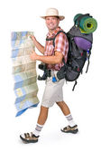 Smiling hiker with map — Stock Photo