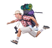 Running man with backpack — Stock Photo