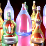 Gaudy Bottles — Stock Photo