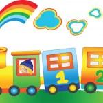 Cartoon boy in the fairy rainbow train — Stock Vector