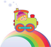 Cartoon boy on the rainbow — Stock Vector