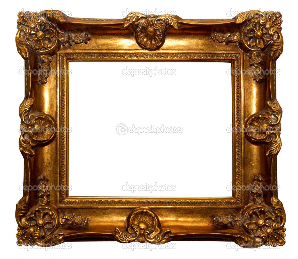 Baroque golden picture frame isolated over white background  — Foto Stock #2332325