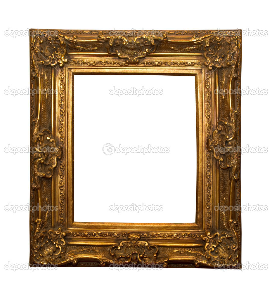 Shinny golden picture frame beautiful handcrafted — Stock Photo #2332394