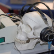 Skull profile with headphones — Stock Photo