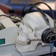 Skull profile with headphones — Stock Photo