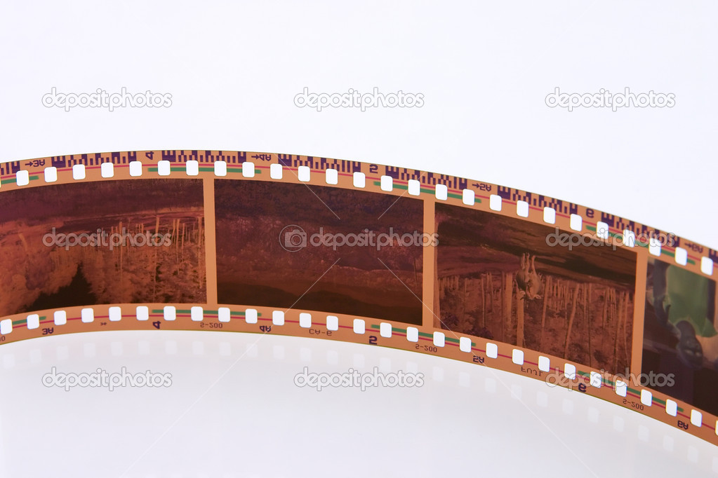 Exposed 35 mm film frames isolated on white background — Stock Photo #2481451