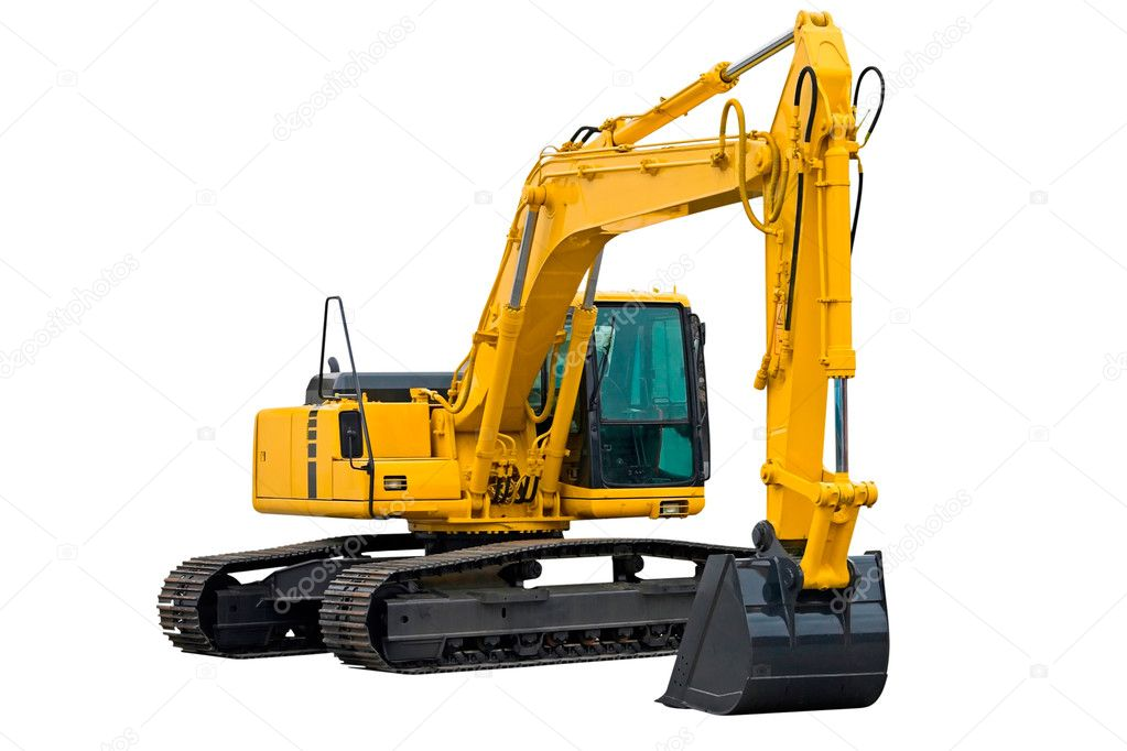 Excavator painted in yellow isolated on white background — Stock Photo #2481523